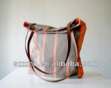 Promotion stripe bag canvas tote bag big size shopping bag