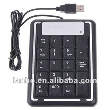 2013 NEW USB 19 Keys Number Numeric Keypad USB Keyboard For Laptop