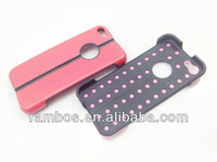 For iPhone 5C Hard Stand Case Smartphone Plastic Silicone Back Cover Combo Case
