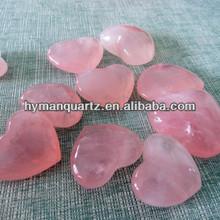 Natural polished rose crystal stone heart