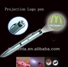 Custom logo metal projection pen with led flashlight