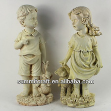 Polyresin decorative garden boy and girl statue
