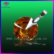 Brilliant bling champagne octagonal pendant jewelry gemstone