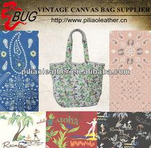 Trendy full color custom print Canvas beach Bag for holiday tropical beach bags