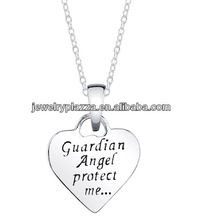 Silver 'Guardian Angel Protect Me' Heart and Angel Reversible Necklace