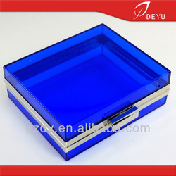 6 x 5 inches - Blue acrylic transparent bag clutch evening bag