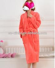 Orange Color Soft Personalized Flannel Fleece SPA Bathrobe for Girls/Ladies