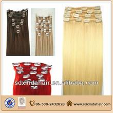 Human hair Brazilian top grade clip in extension virgin hair