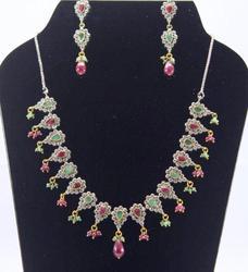 925 Sterling Silver Ruby,Emerald & Zircon Necklace set