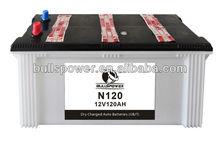 (JIS standard) battery car N120, automotive battery 12v 120ah