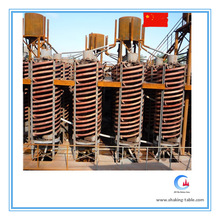 Mineral beneficiation plant spiral chute separator for zircon ore separation