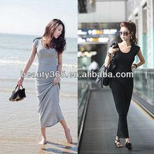 Women Cotton Blends Korean Leisure Dynamic Lace up Back Slim Long Dress 2 Colors New