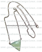 24kt. Gold Plated Chain Necklace with Aqua Chalcedony Gemstone Tringle Shape Bezel Connectors Pendants chain