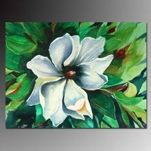 wonderful floral green tone magnolia flower oil painting