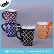 Stoneware handpainted coffee mug with spoon