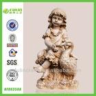 China Handmade Painting Goose Resin Girl Garden Nude Figurine