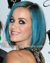 Custom human hair lady's blue bob wig for party