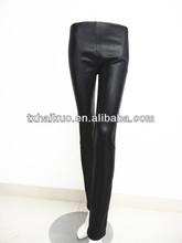 2013 elegant fashion ladies tight black stretch sheep leather pants