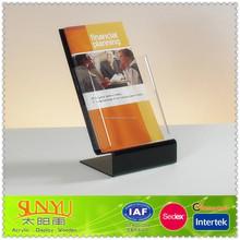 New Black Acrylic Z Shape Brochure Stand /Customized Acrylic Tri-Fold Exhibition Brochure Stand