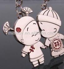 China style wedding cartoon figure boy and girl love pendant enamel red kiss couple pendant 2 14