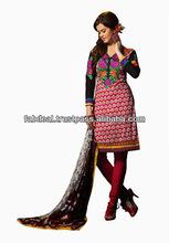 Kolhapuri Black & Red Colored Cotton Salwar Kameez