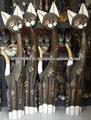 meilleur décoratifs en bois sculpté à la main statue animaux chats