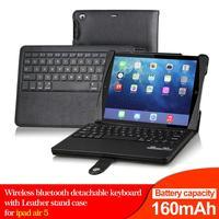 New detachable wireless bluetooth keyboard for iPad air ipad 5 ipad mini bluetooth keyboard case black