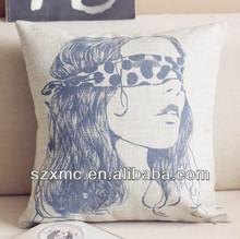 Fashion design cotton linen character printed cheap pillow cover wholesale