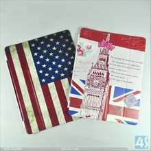 USA Red White Blue flag leather case for iPad 4/3/2 P-iPAD234CASE093