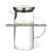 SINOGLASS 1 liter bottle smartly design lid glass art filter carafe with handle