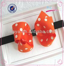 Orange Polka Dot and Black Halloween Baby Infant Toddler Girls Bow Headband