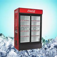 promotional 1150L double door Coke refrigerator commercial cooler for beverage