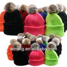 UNISEX POMPOM KNIT CAP WARM BEANIES SKULL HATS BERET Winter SKI Acrylic SOLID fur pom poms