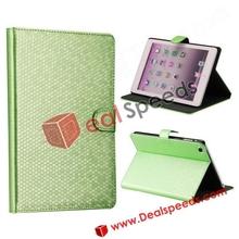 For iPad Mini Stand Cases! Diamond Pattern Magnetic Flip Leather Stand Cases for iPad Mini(Green)