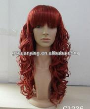 wholesale price sleek dark red wig full bangs