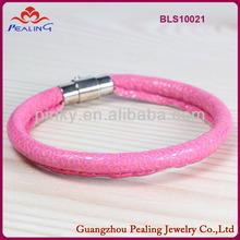 New lady's fashion pink zinc alloy anti-static leather bracelet