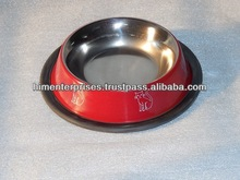 Stainless steel colored Pet bowl with printing/Cat feeding bowl