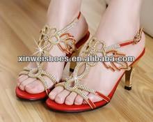 Lady low heel wedding fancy sandals gold sandal