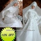 Hot Sale Long Noble Good Quality Satin Beaded Crystal Wedding Dress