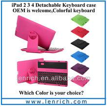 LBK115 For iPad 3 Bluetooth Keyboard Case 360 Degree Rotate Bluetooth Wireless Keyboard For iPad 2/3/4