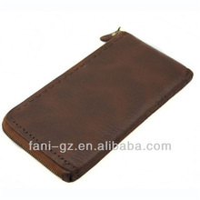 Fani brown sport mens leather wallets with chains hot sall in china