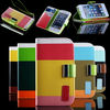 Moblie phone accessories for iphone 5 colorful leather wallet case with slot