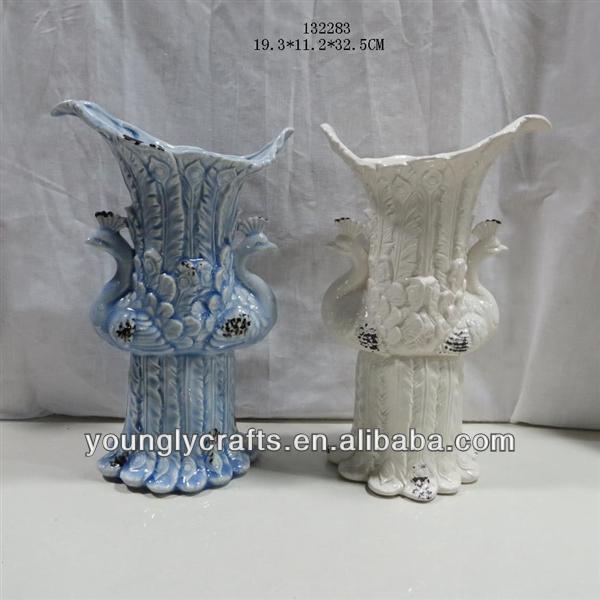 ceramic porcelain peacock decorative flower vase