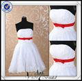 jj0091 corto de encaje de la boda vestidos con detalles en rojo