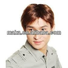 Light Chestnut Brown Hand-tied Short synthetic Men's Wig