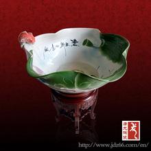 Lotus Flower Design Porcelain Fish Bowl