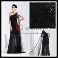 um ombro malha frisado veja throgh sexy longo vestido de noite vestido preto