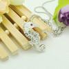 Latest Design Fashion Sea Horse Cystal Pendant Necklace,2013 Fashion Alloy Animal Pendant Necklace