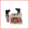 Funny custom ceramic christmas salt and pepper shakers set