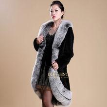 2013 fashionable long fur coats big fox collar rex rabbit coat